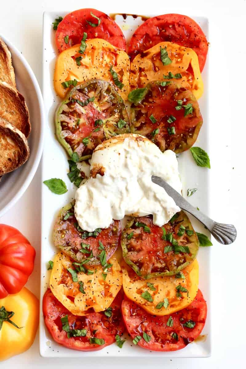 Burrata and Heirloom Tomatoes with Toasted Bread