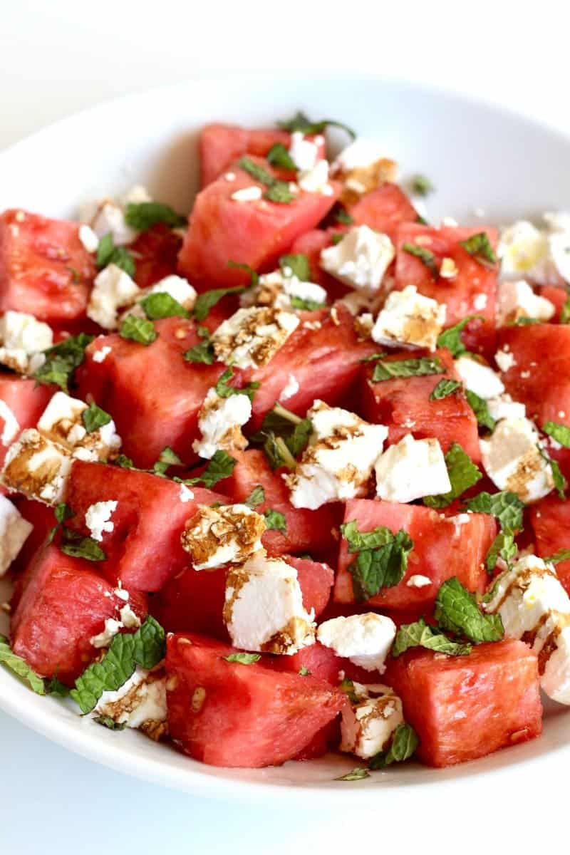 Watermelon Feta Salad with Mint and a Balsamic Glaze