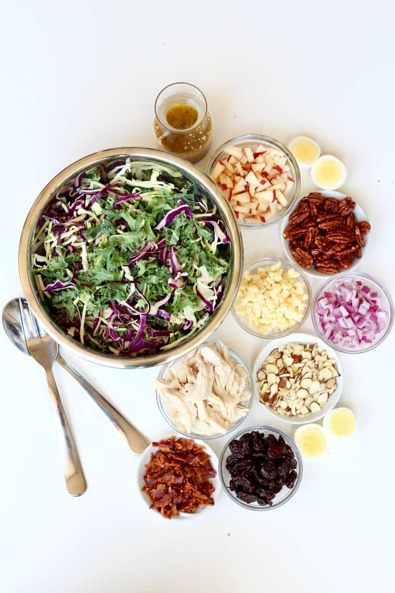 Newporter Salad {chopped kale + roasted chicken salad with champagne vinaigrette}