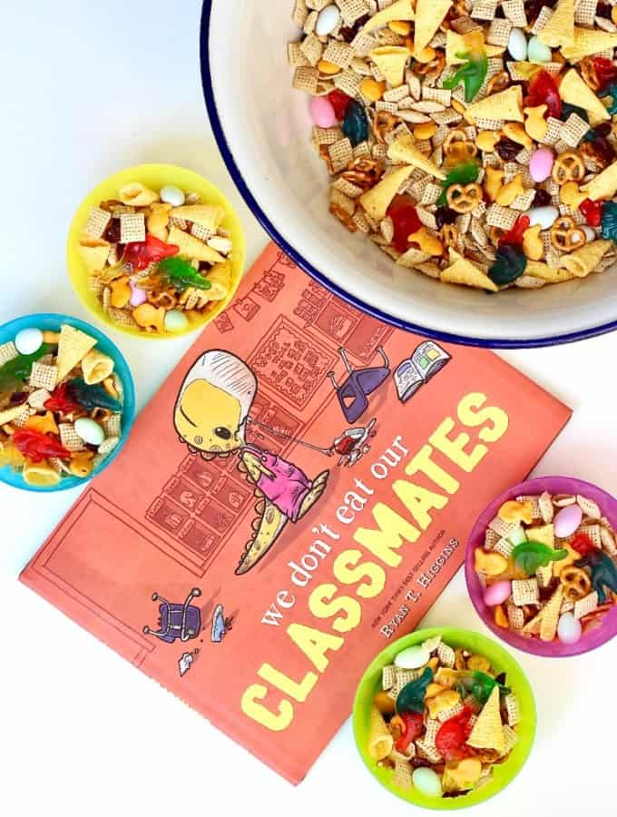 Dino-Mite Snack Mix + Book Review: We Don't Eat Our Classmates by Ryan T. Higgins