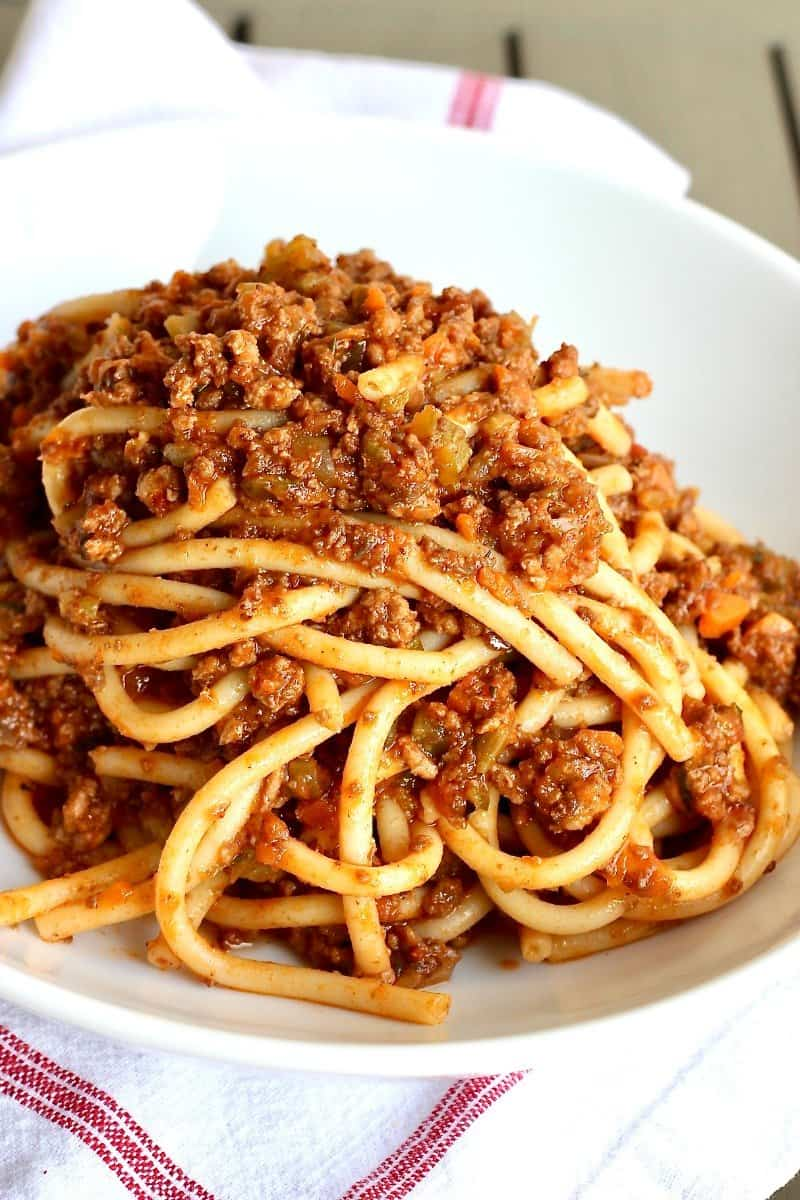 The Best Bucatini Bolognese