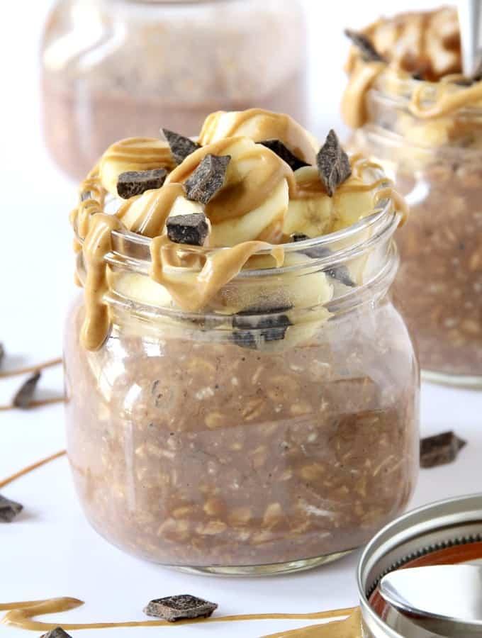 Chocolate Peanut Butter Banana Protein Overnight Oats