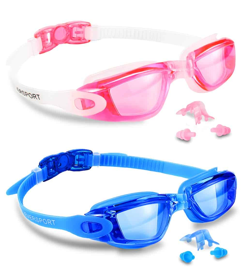 EverSport Swim Goggles, Pack of 2, Swimming Glasses for Adult Men Women Youth Kids Child, Anti-Fog, UV Protection, Shatter-Proof, Watertight(Blue&Pink)