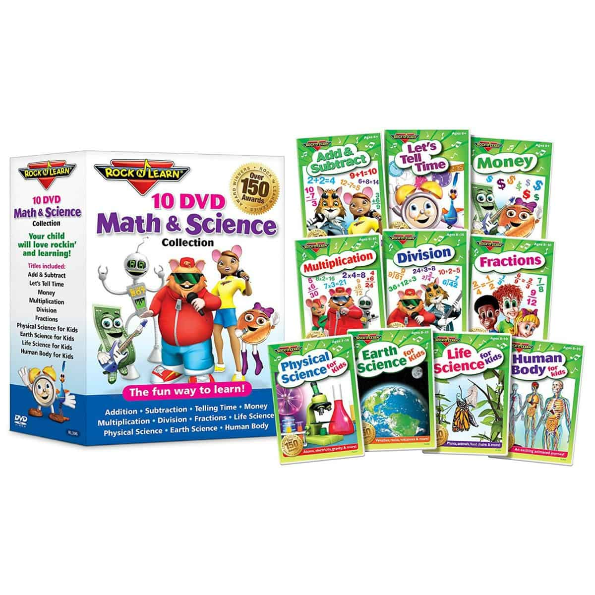 10 DVD Math & Science Collection by Rock 'N Learn