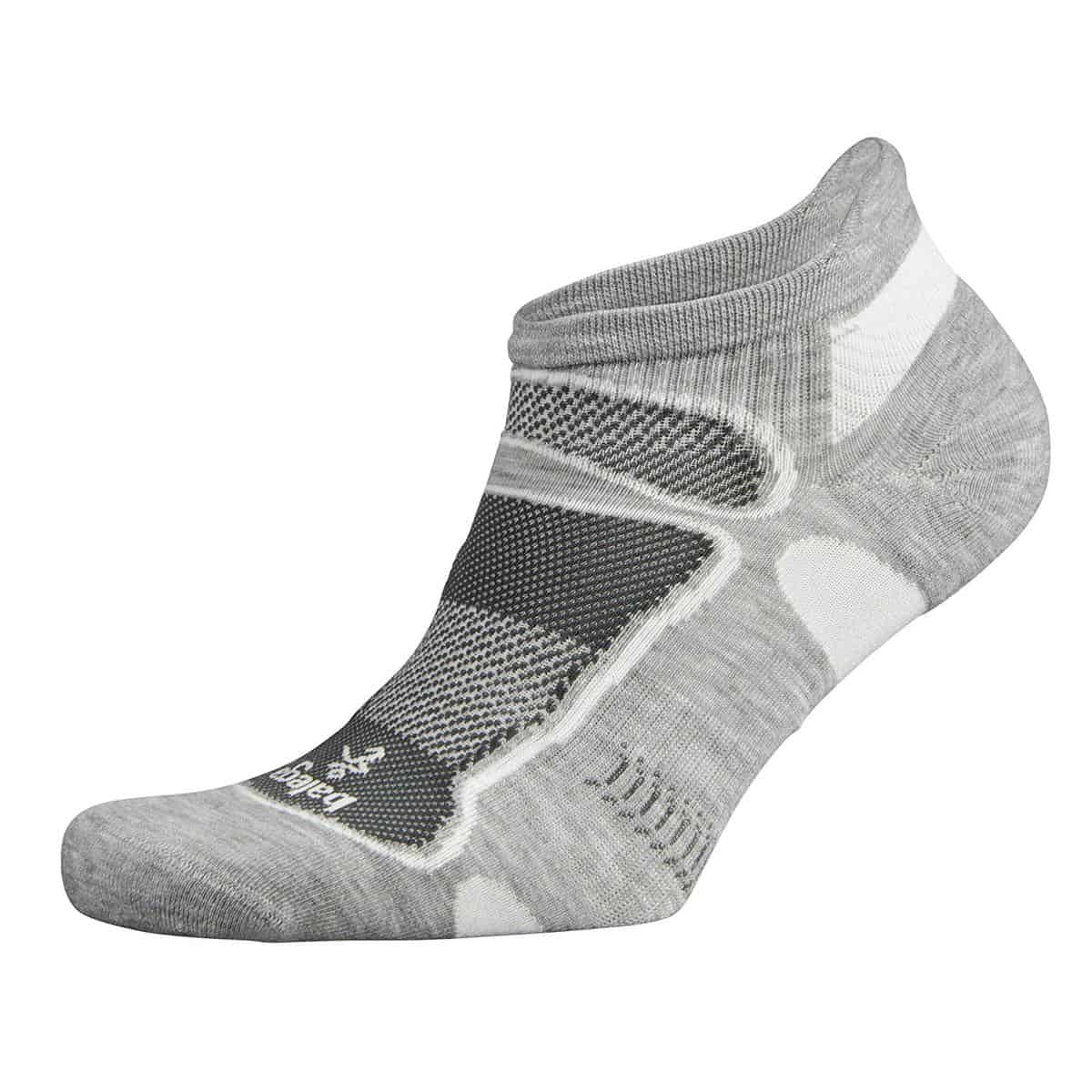Balega Ultralight No Show Athletic Running Socks for Men and Women (1 Pair) (2018 Model), Grey/White, Medium