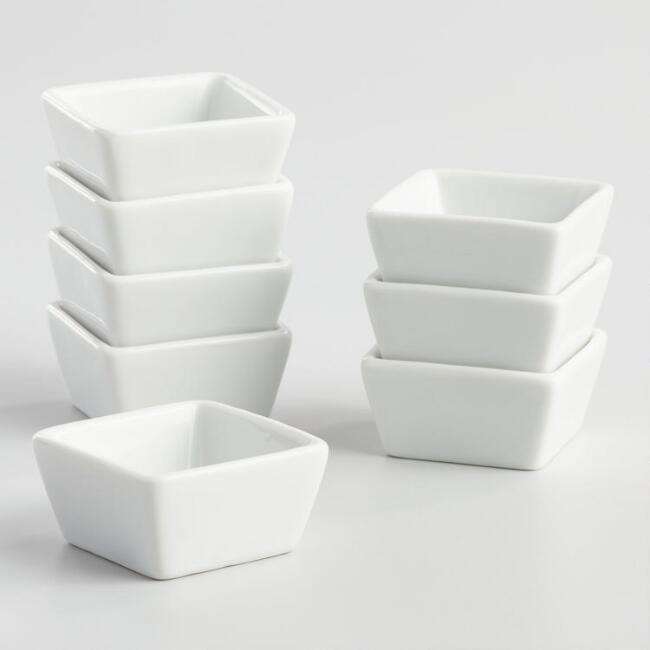 Mini White Porcelain Square Tasting Plates, Set of 8