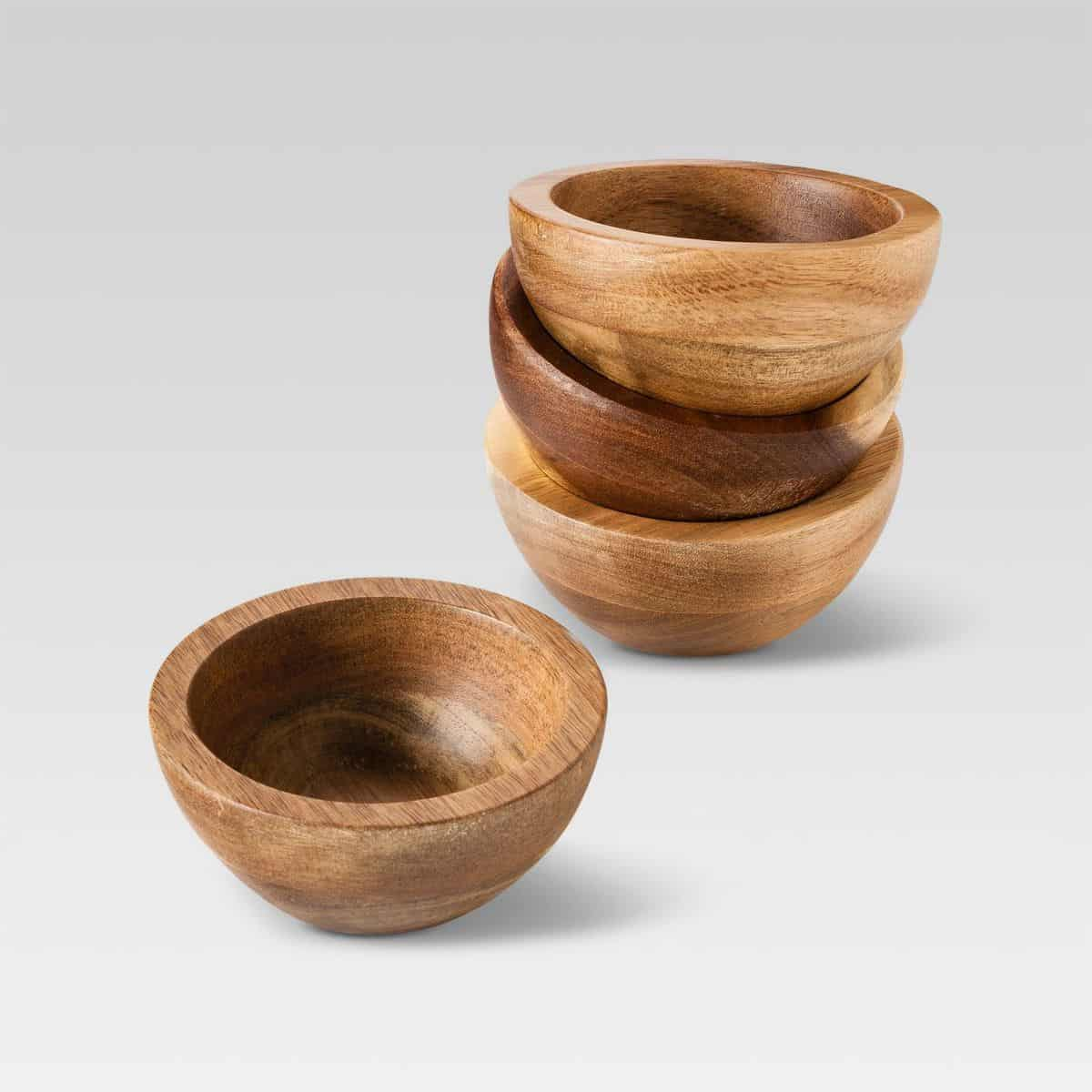 Set of 4 Natural Acacia Dip Bowls