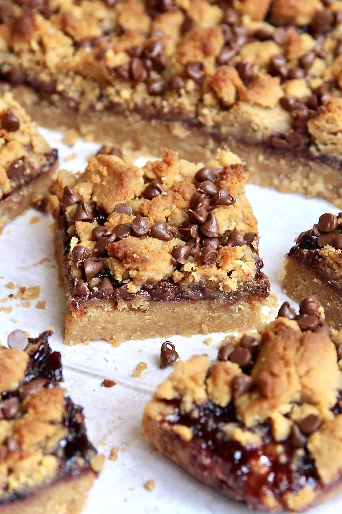 Peanut Butter and Jelly Bars with honey & chocolate chips