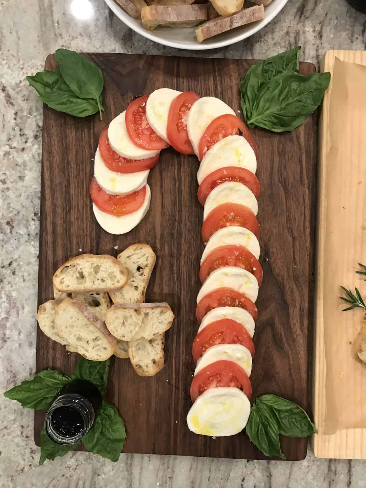 Caprese Candy Cane Board from Beautiful Boards Cookbook by Maegan Brown