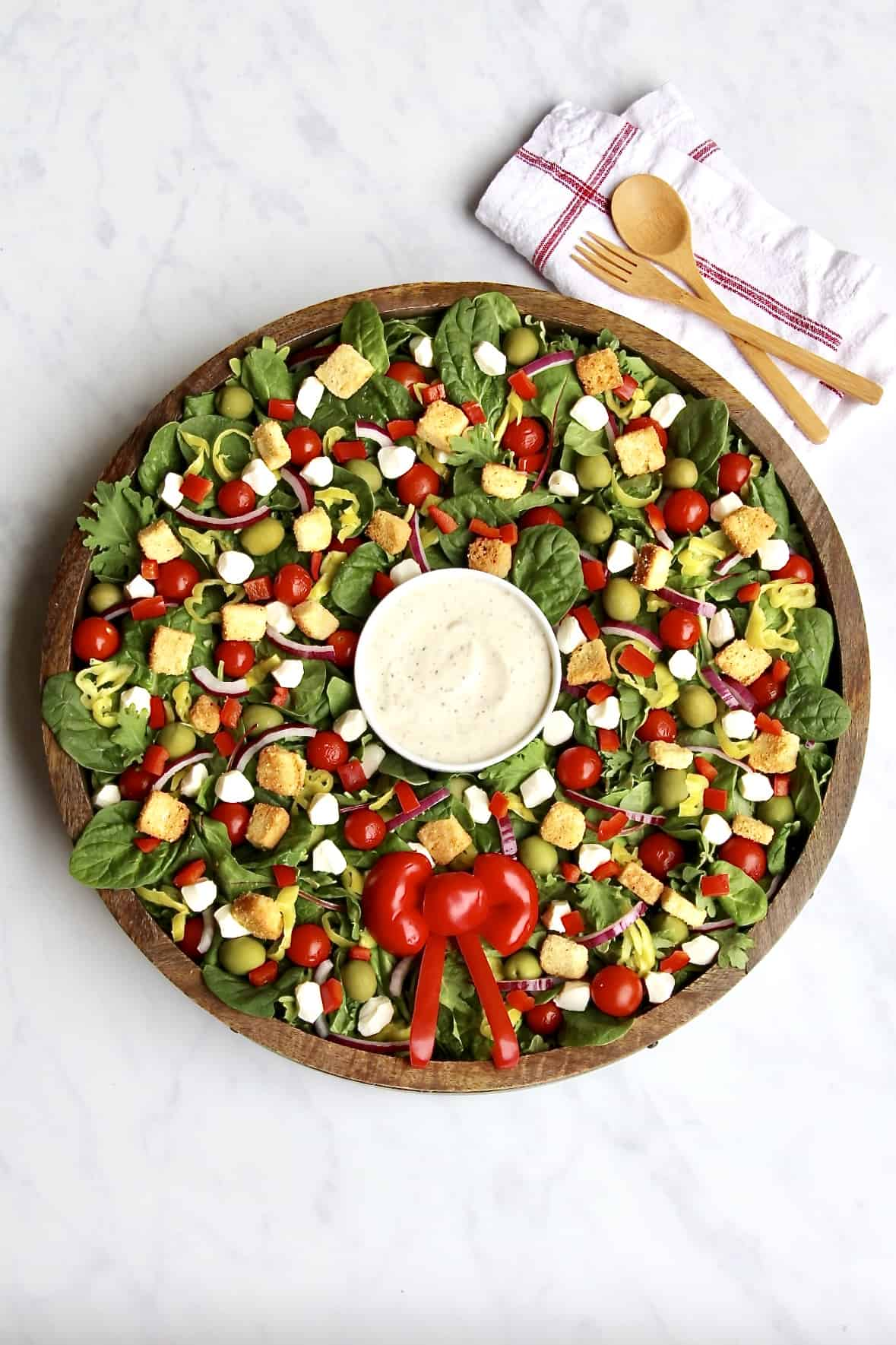 Christmas Salad Wreath from TheBakerMama.com
