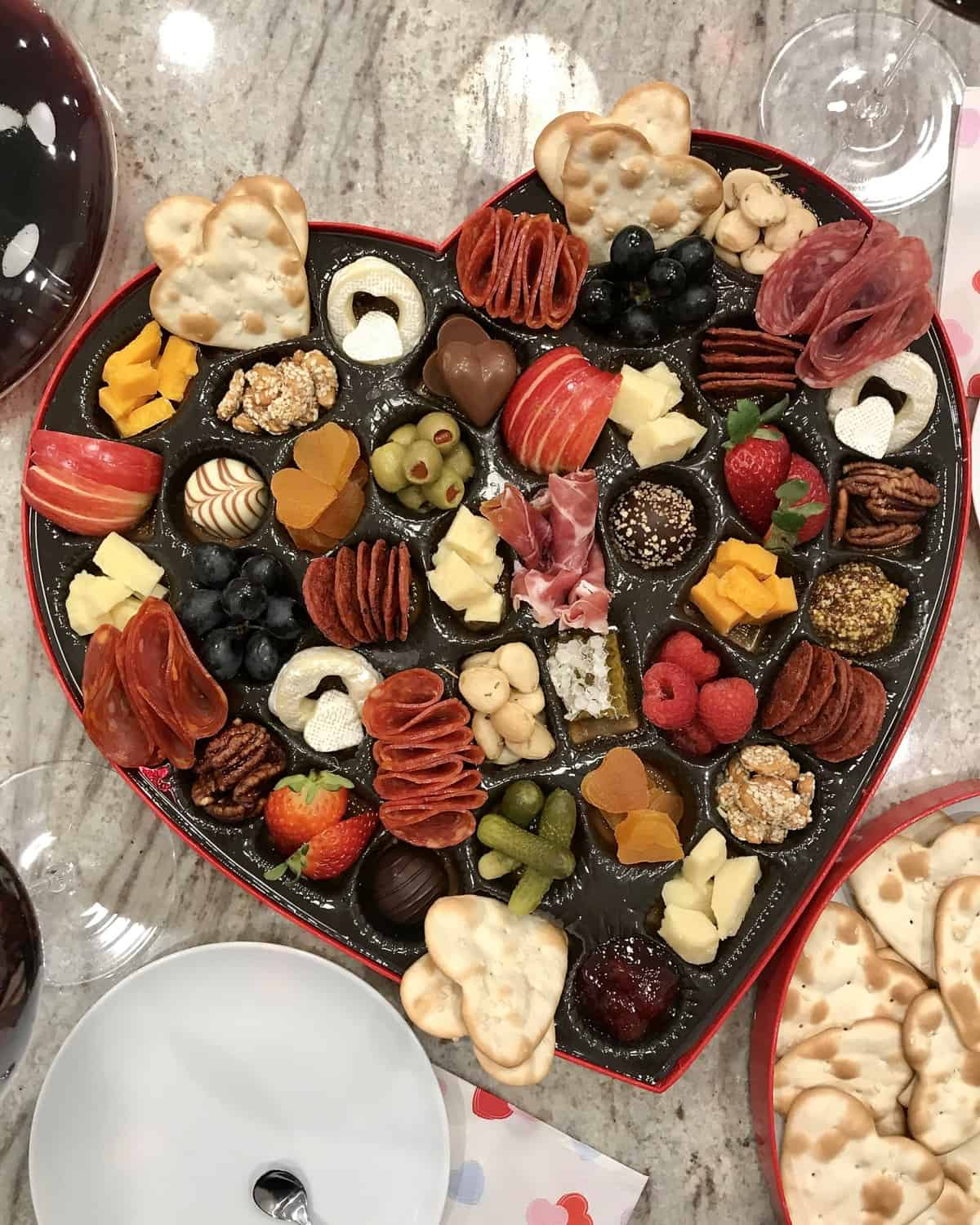 Charcuterie and Cheese Heart Box