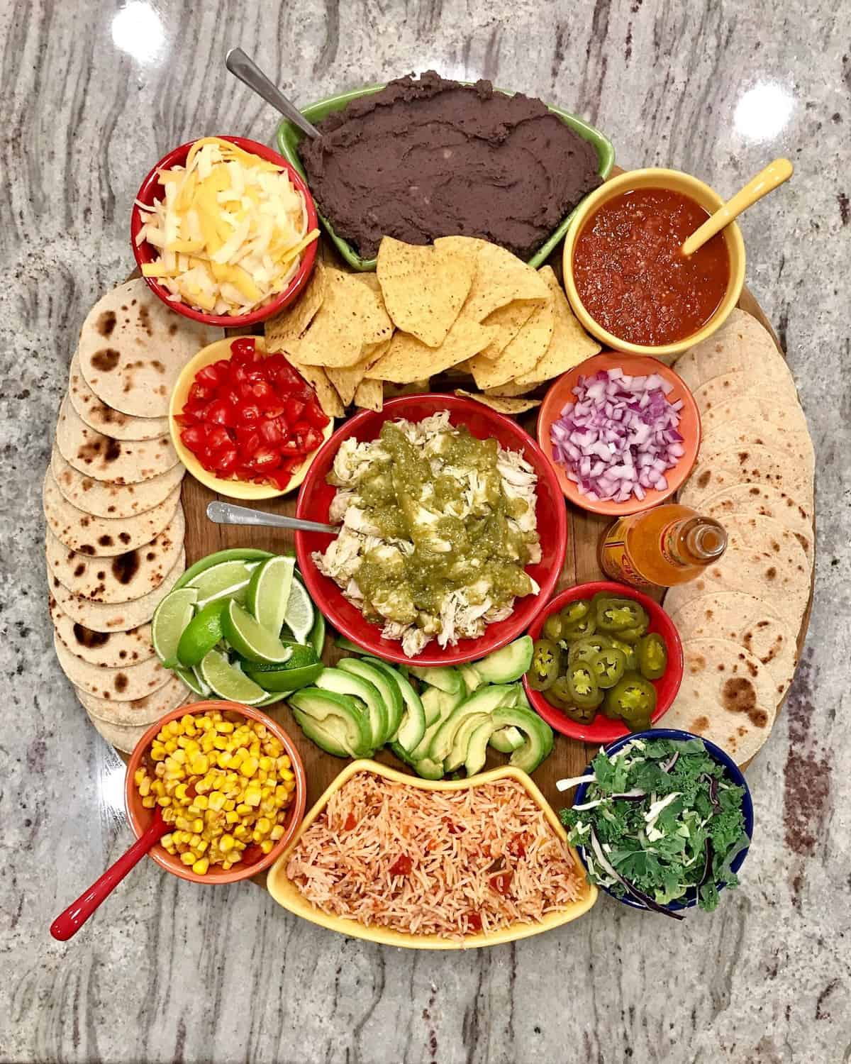 Build-Your-Own Chicken Taco Board by The BakerMama