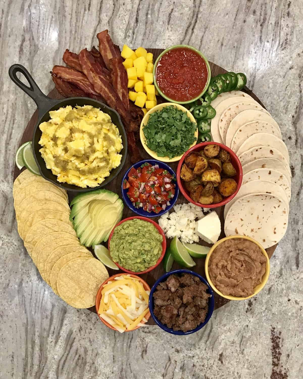 Build-Your-Own Breakfast Taco Board by The BakerMama