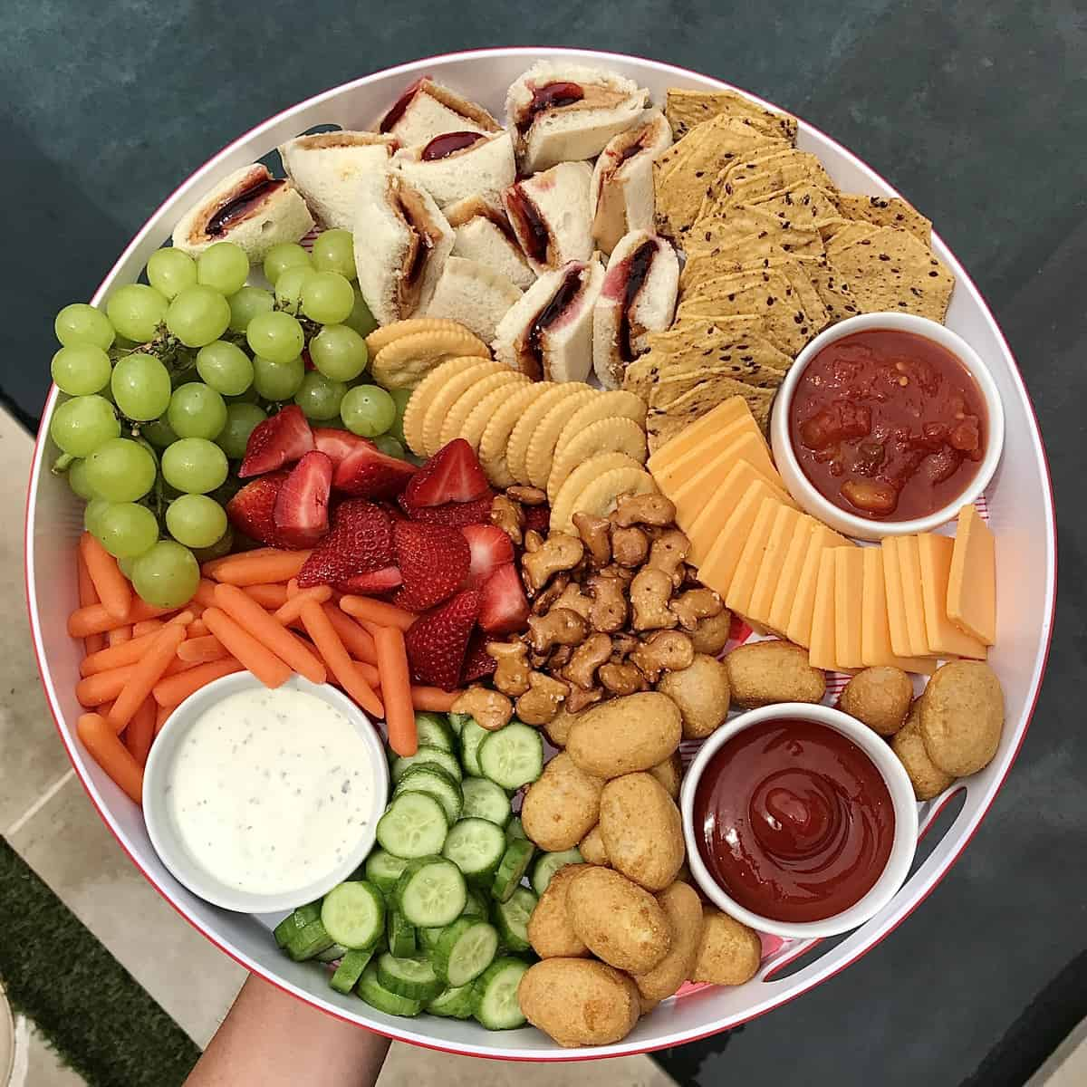 PB&J and Mini Corndog Snack Tray by The BakerMama