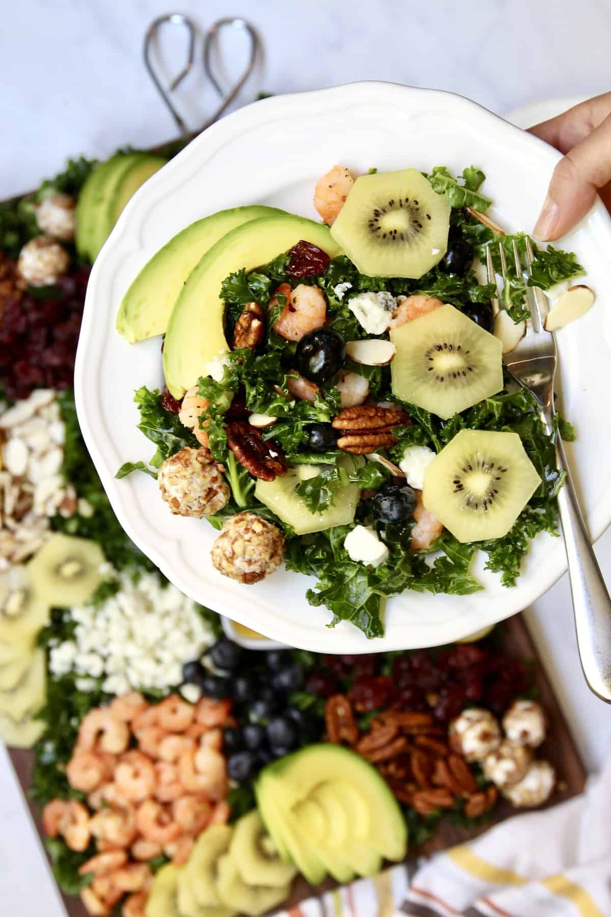 Kale + SunGold Kiwi Salad Board by The BakerMama