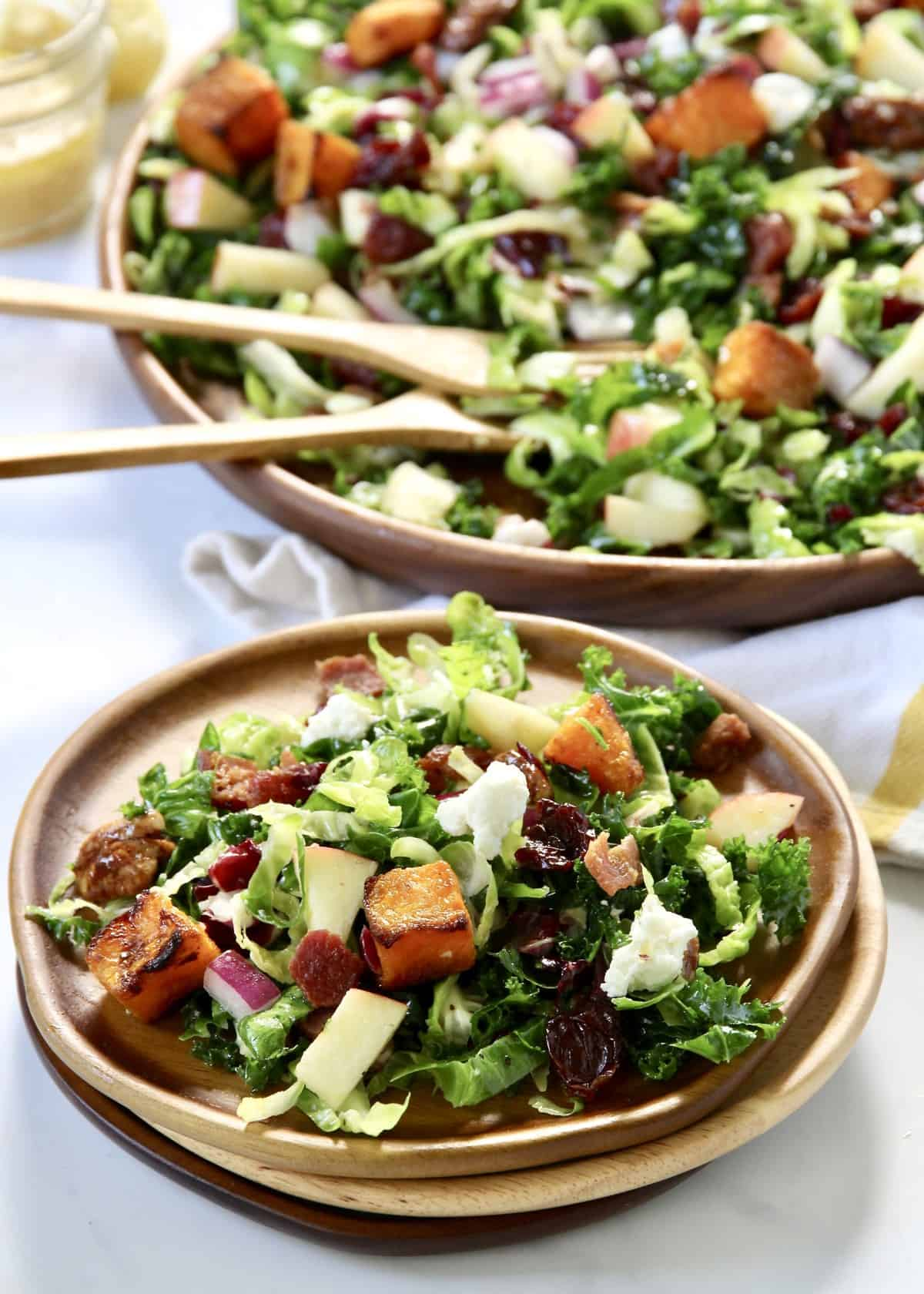 Kale and Brussels Sprouts Salad with a Maple Dijon Vinaigrette