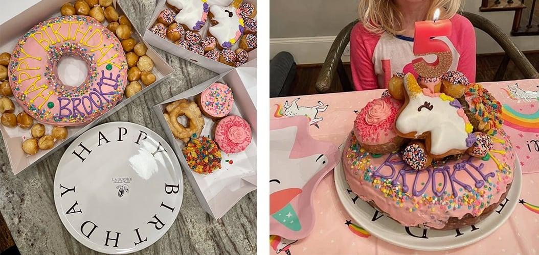 Base and unicorn donut cake assembly