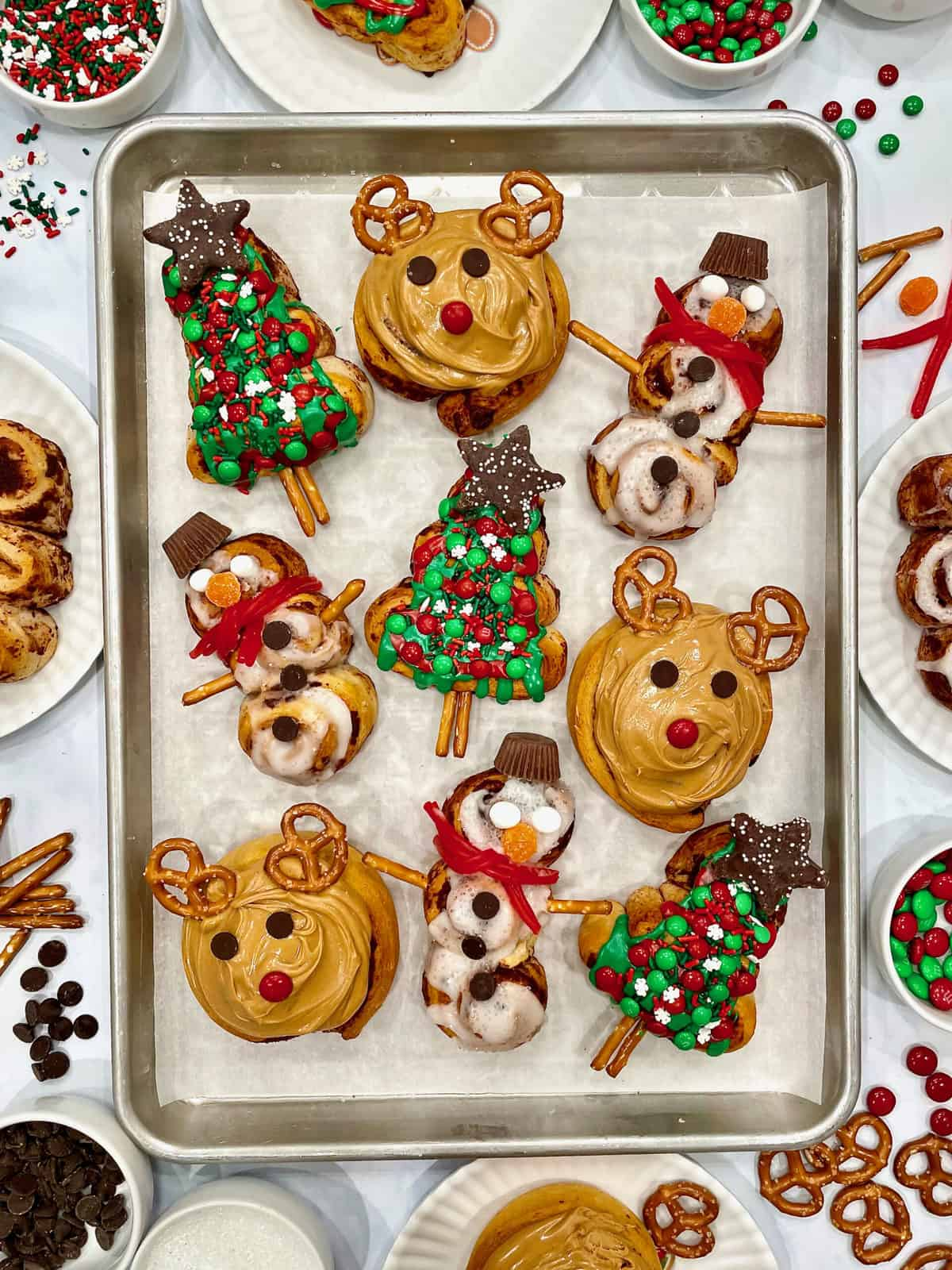 Festive Christmas-Shaped Cinnamon Rolls by The BakerMama