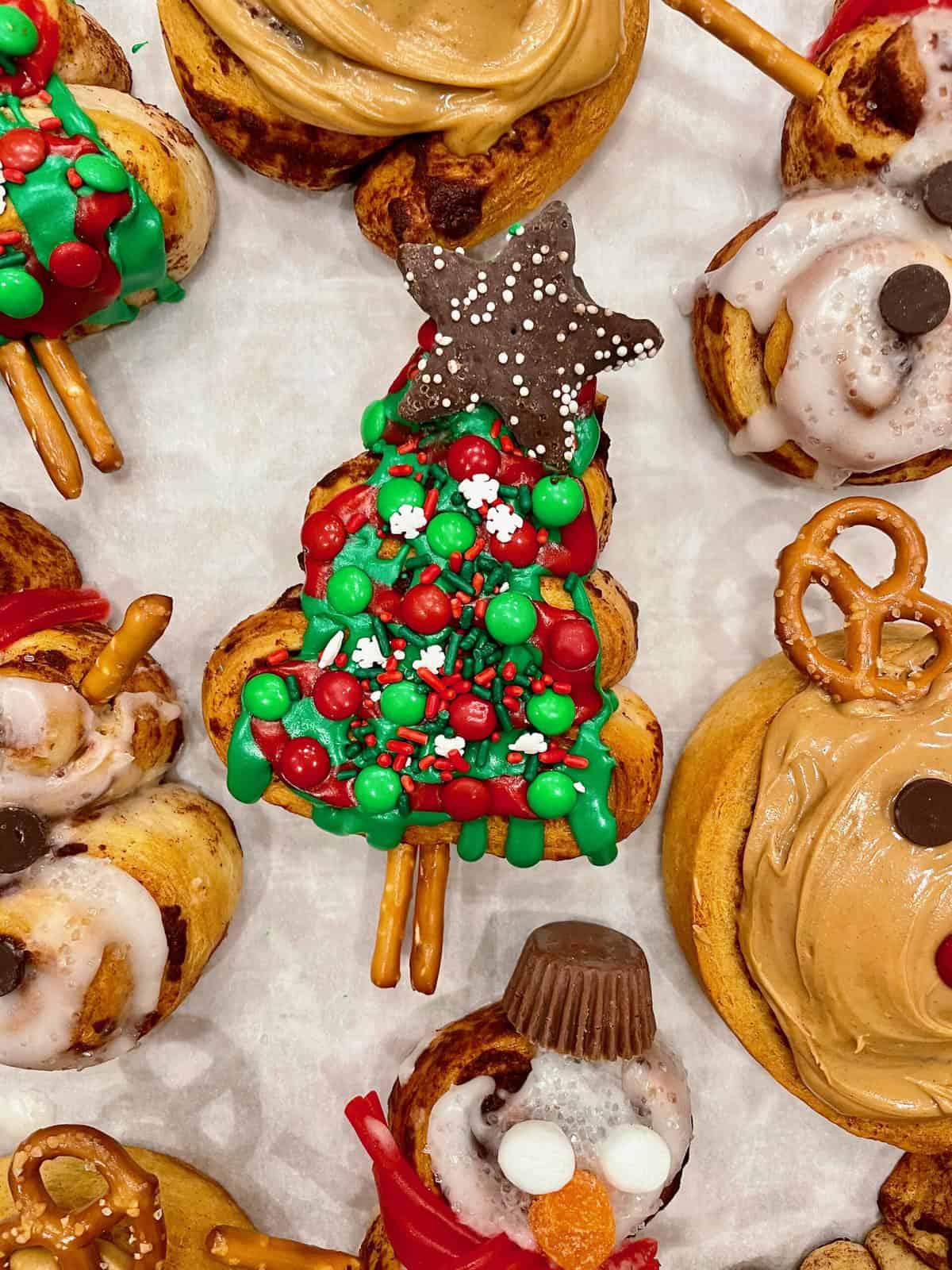 Festive Christmas-Shaped Cinnamon Rolls