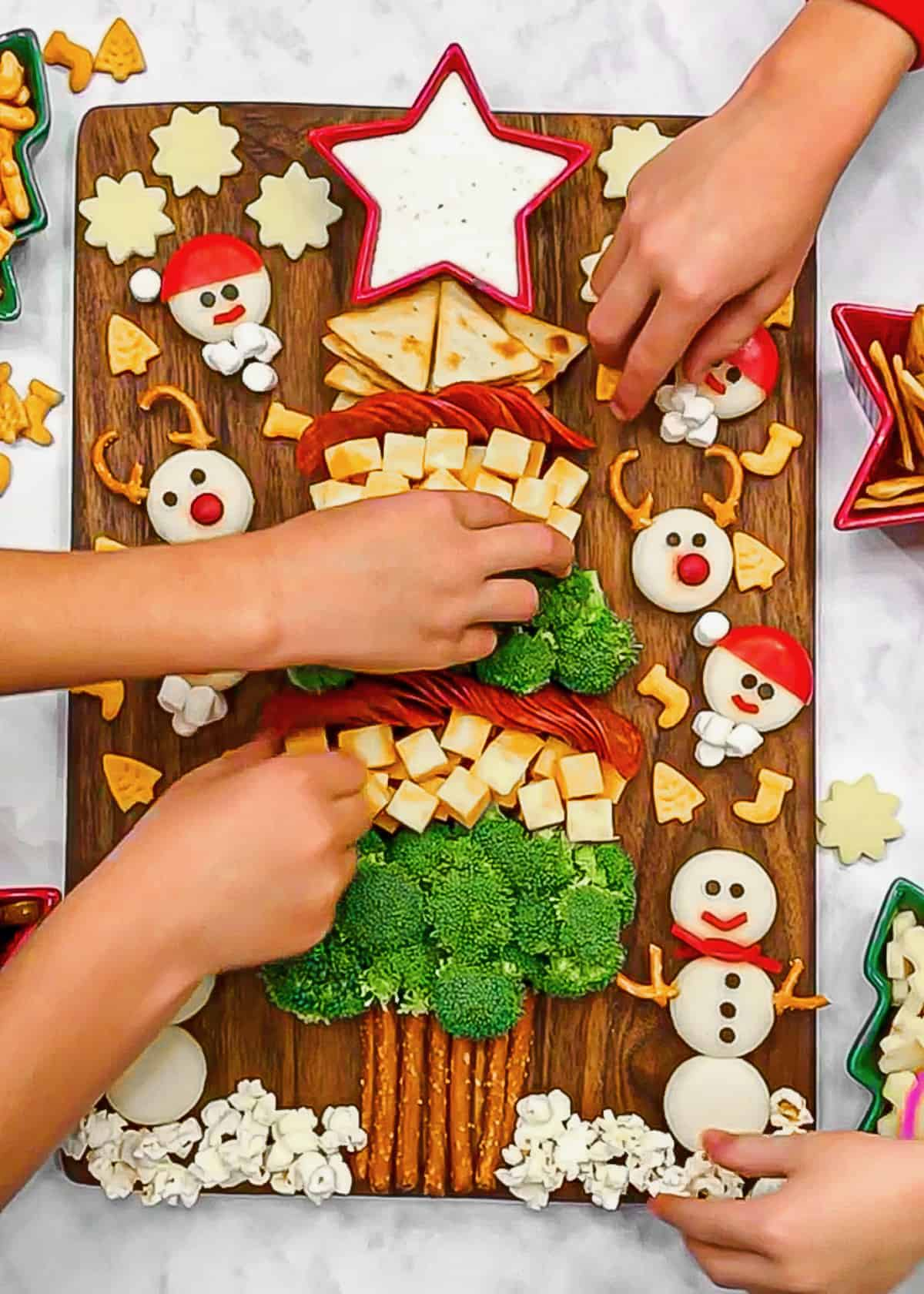 Kid's Christmas Tree Snack Board