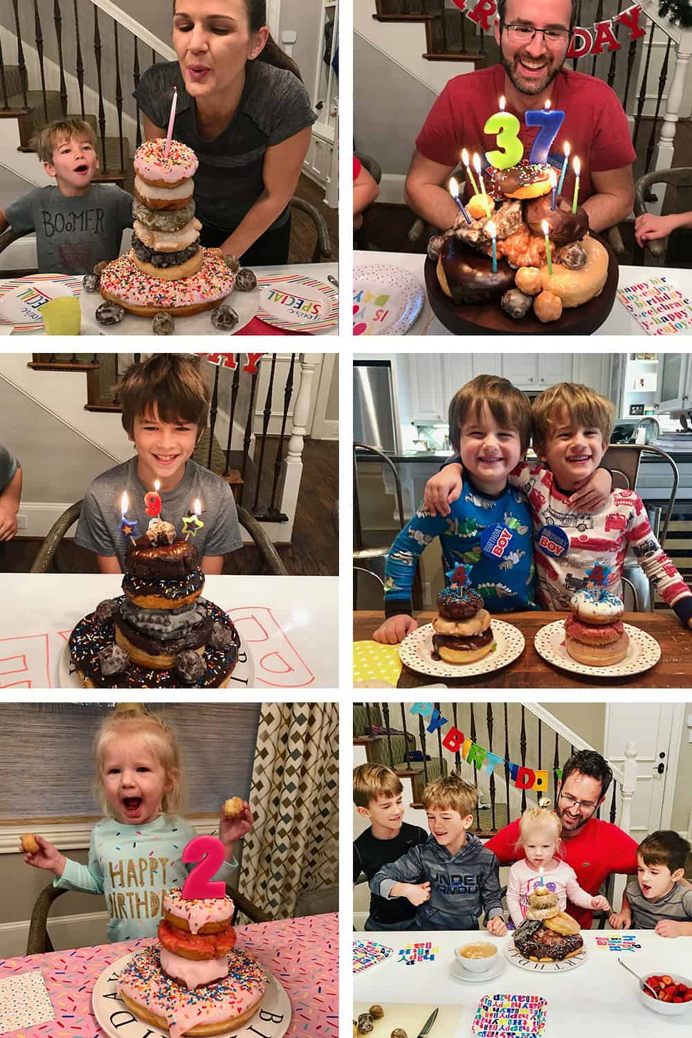 The Brown Family Birthday Donut Collage