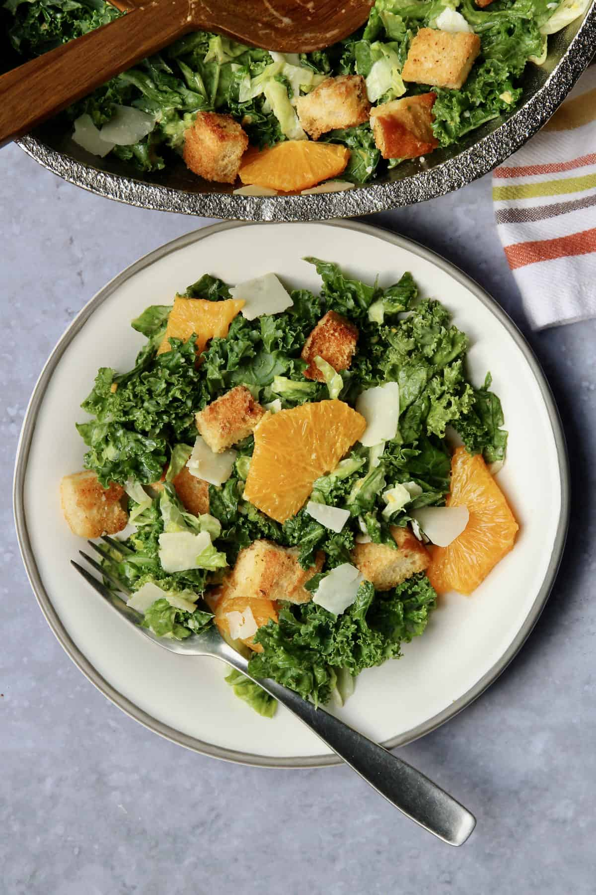 Citrus Caesar Salad with Baked Croutons