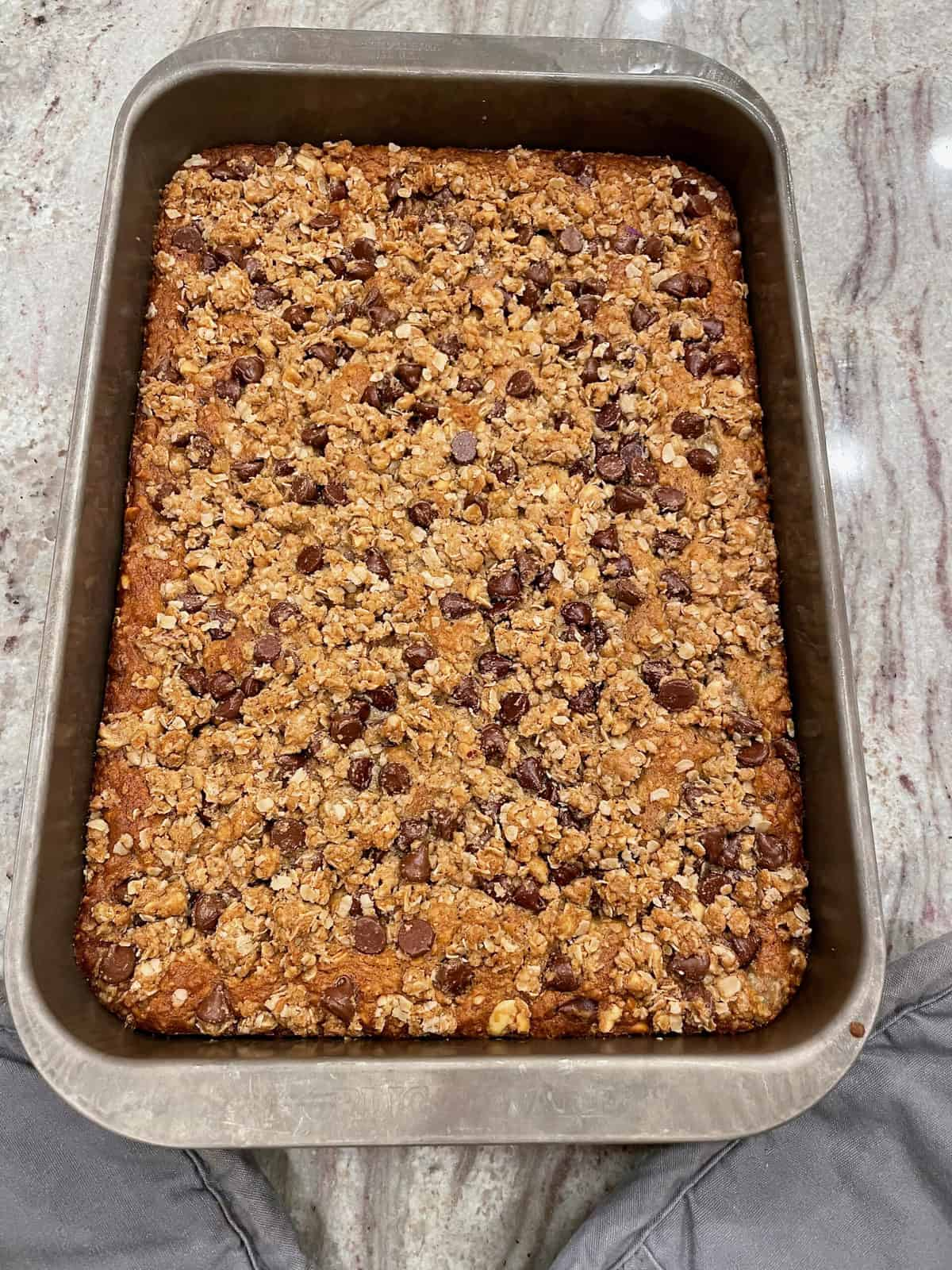 Peanut Butter Oatmeal Chocolate Chip Banana Bread Bars by The BakerMama