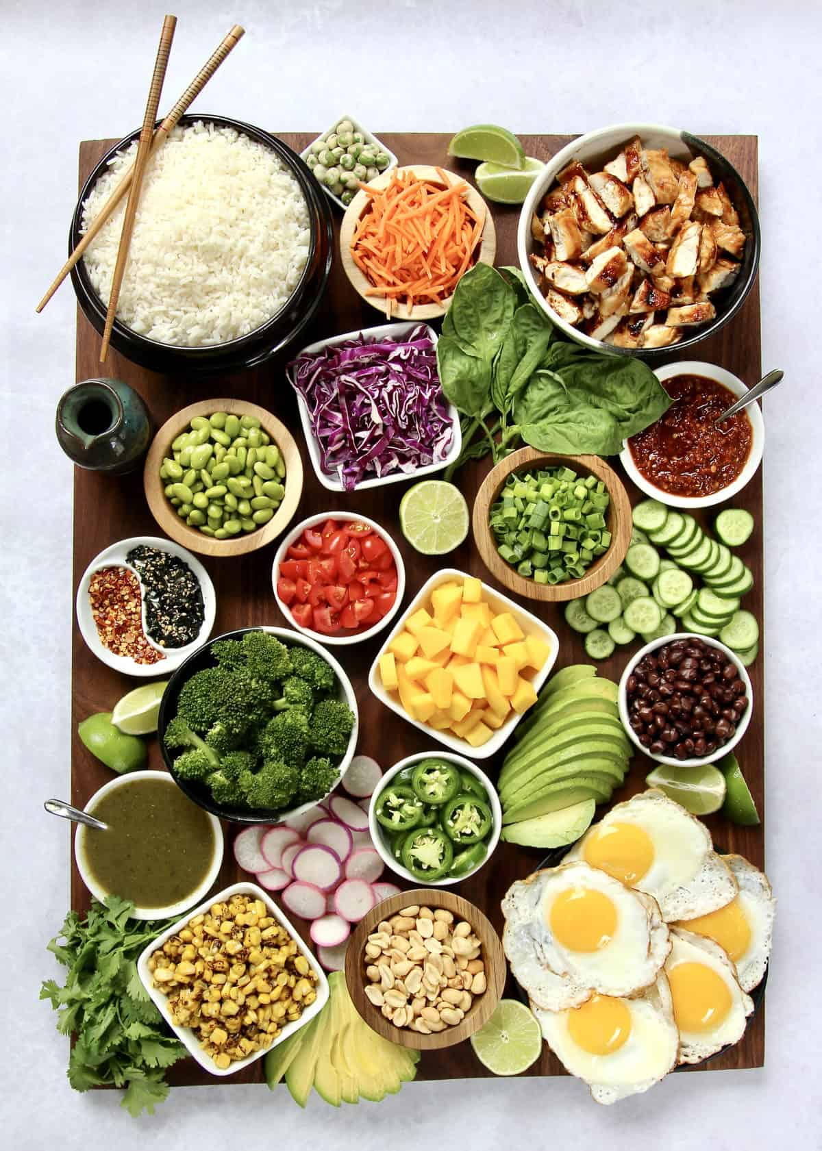 Build-Your-Own Rice Bowl Board by The BakerMama