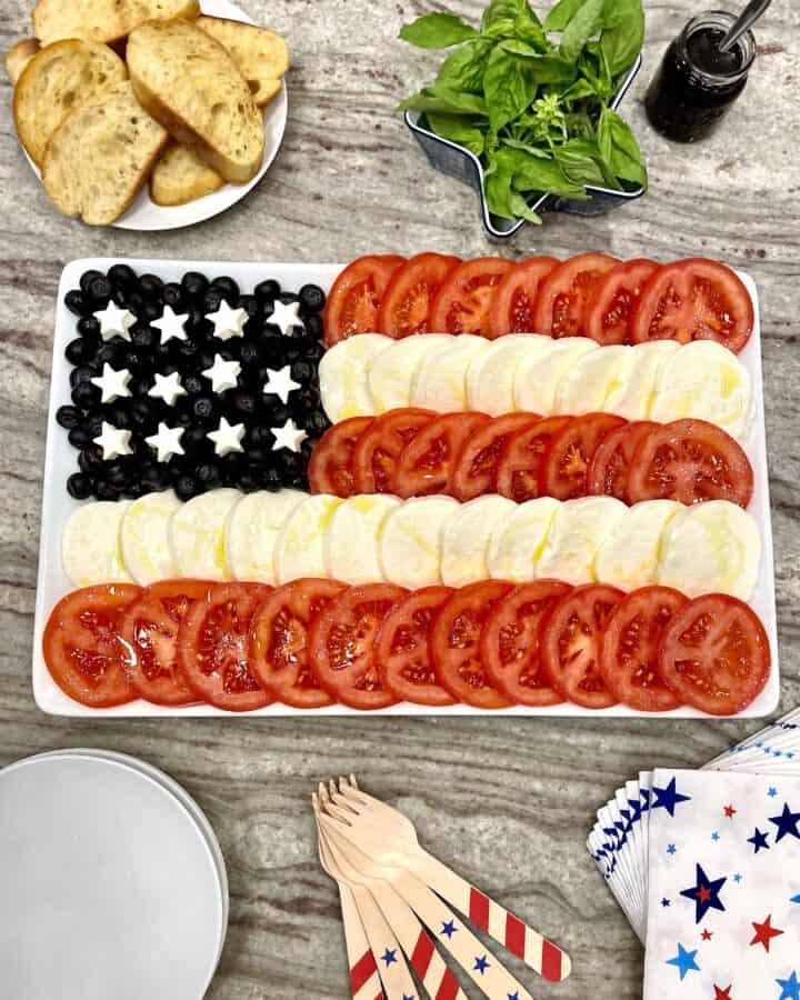 American Flag Caprese Salad by The BakerMama