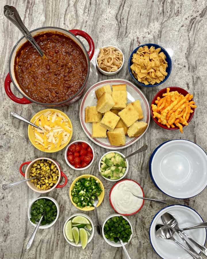 Fill Your Own Chili Bowl Spread by The BakerMama