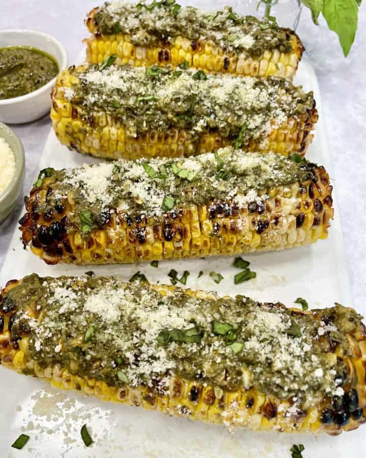 Pesto Parmesan Grilled Corn by The BakerMama