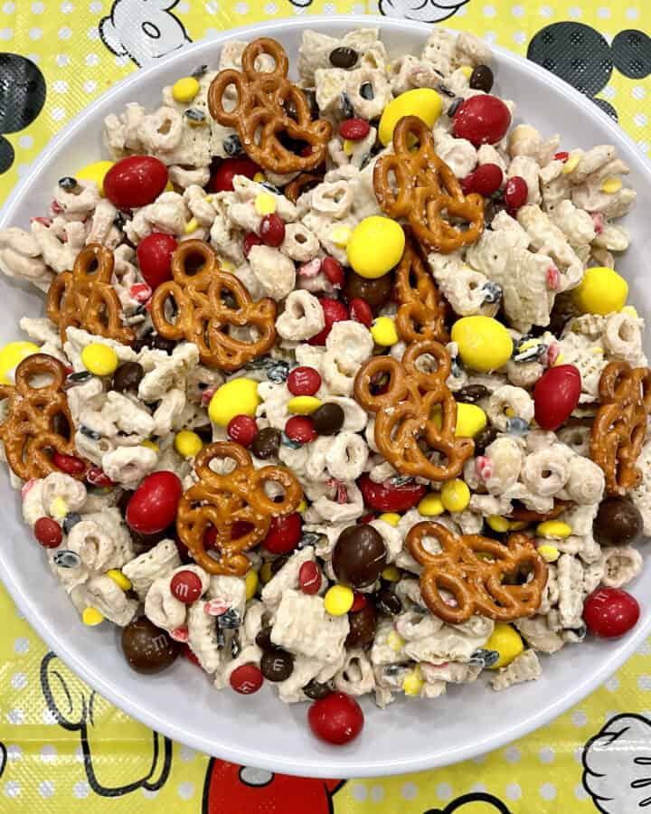 A bowl of Mickey Snack Mix by The BakerMama