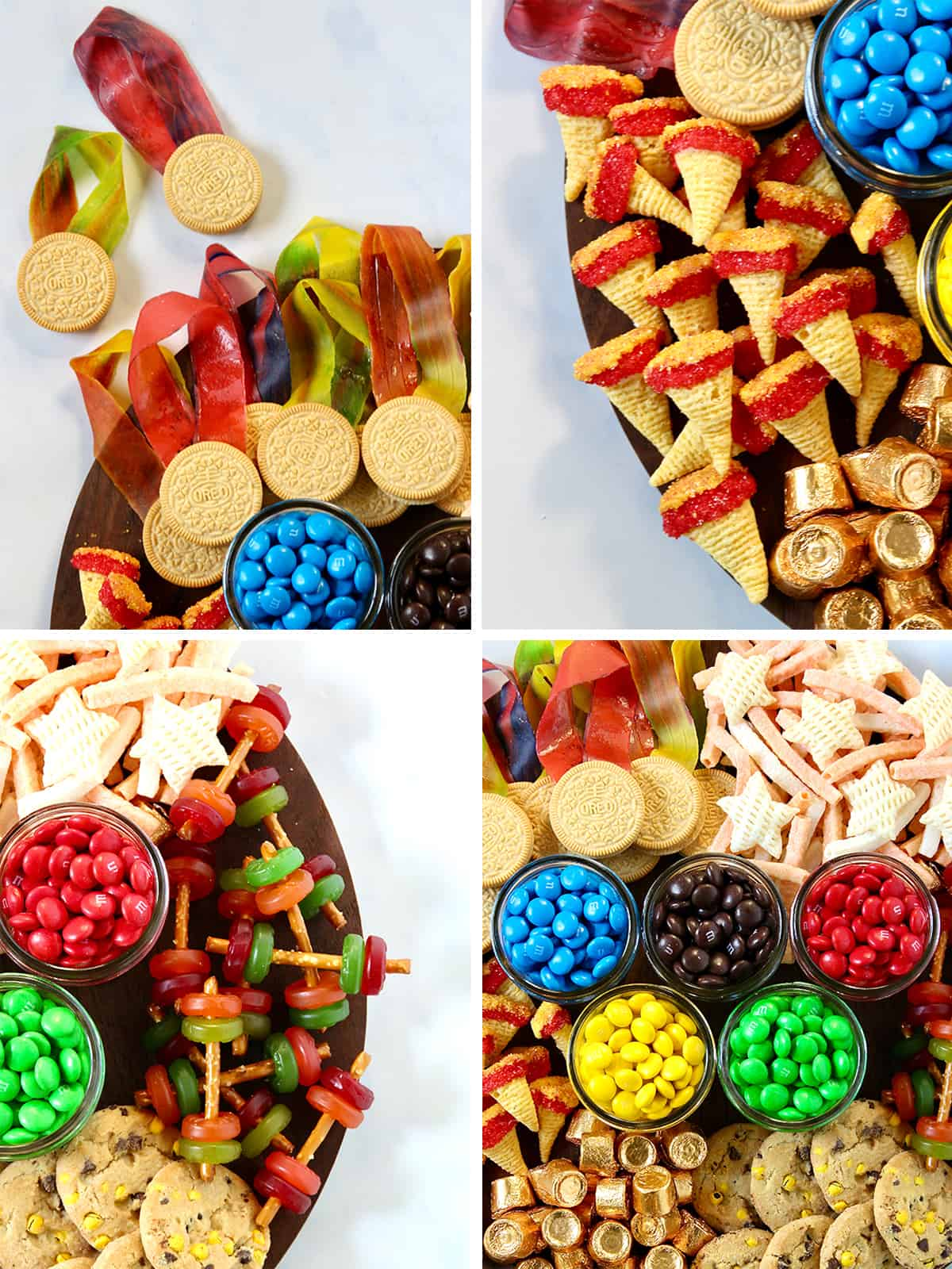 Steps to make the Olympics Snack Board by The BakerMama