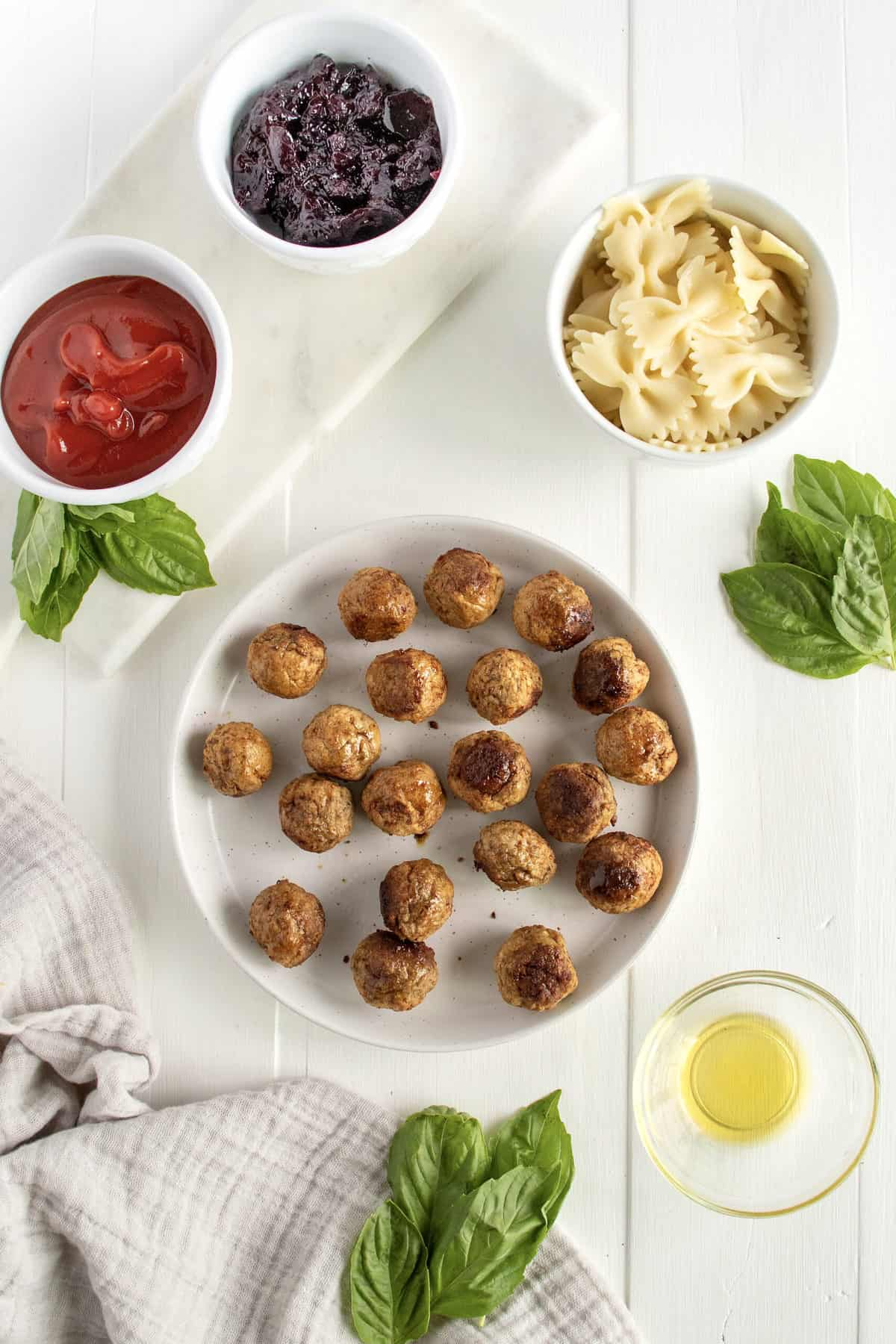 Bowtie Pasta and Cocktail Meatball Skewers by The BakerMama
