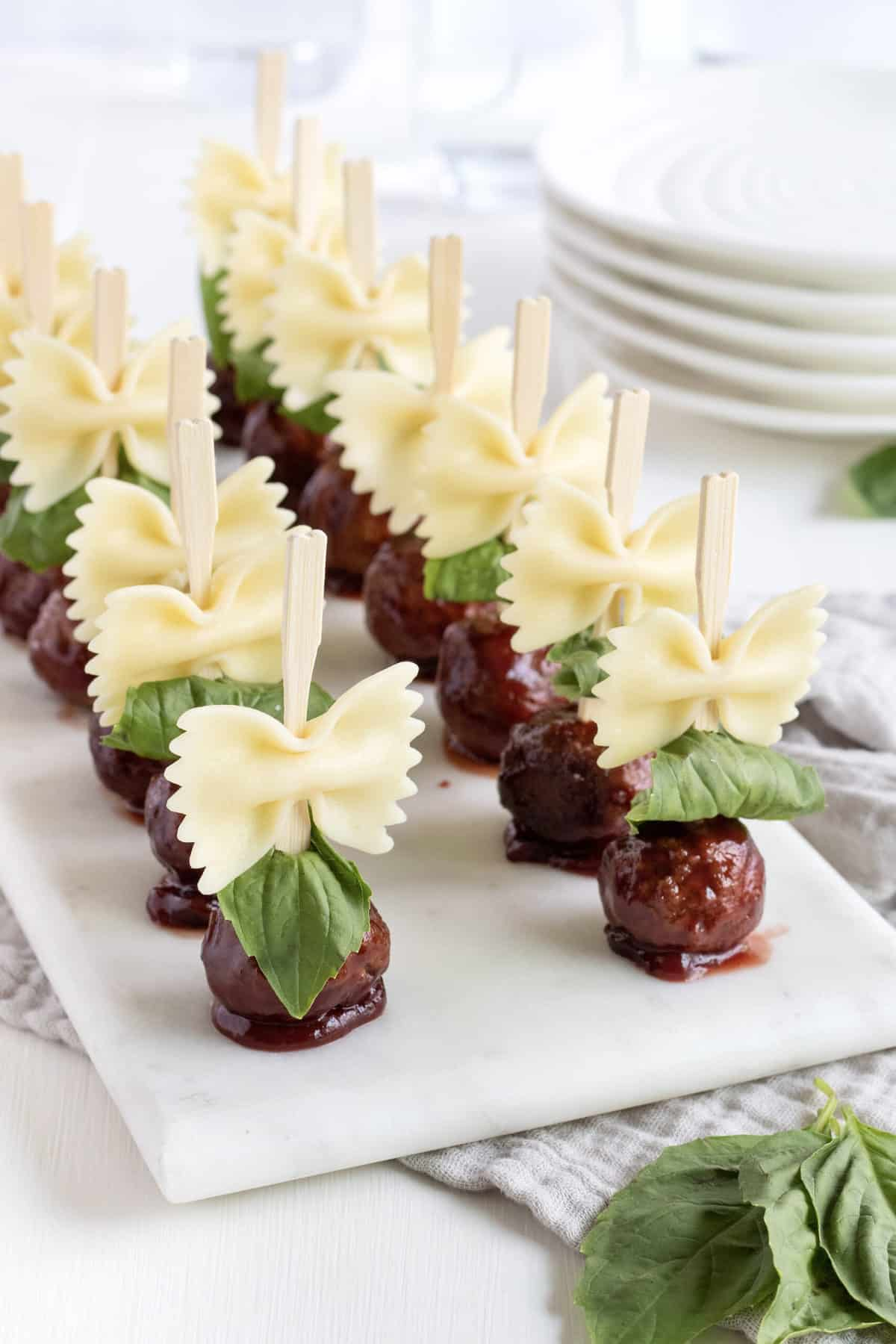 Bowtie Pasta and Meatball Skewers by The BakerMama