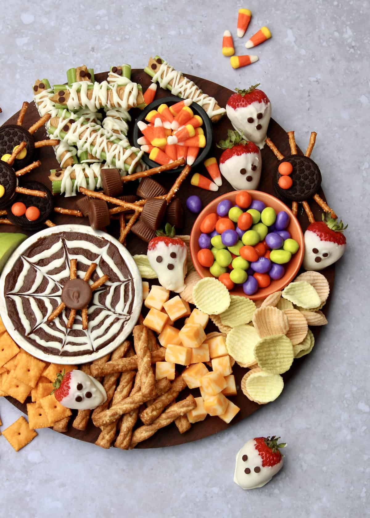 Kid-Friendly Halloween Snack Board by The BakerMama