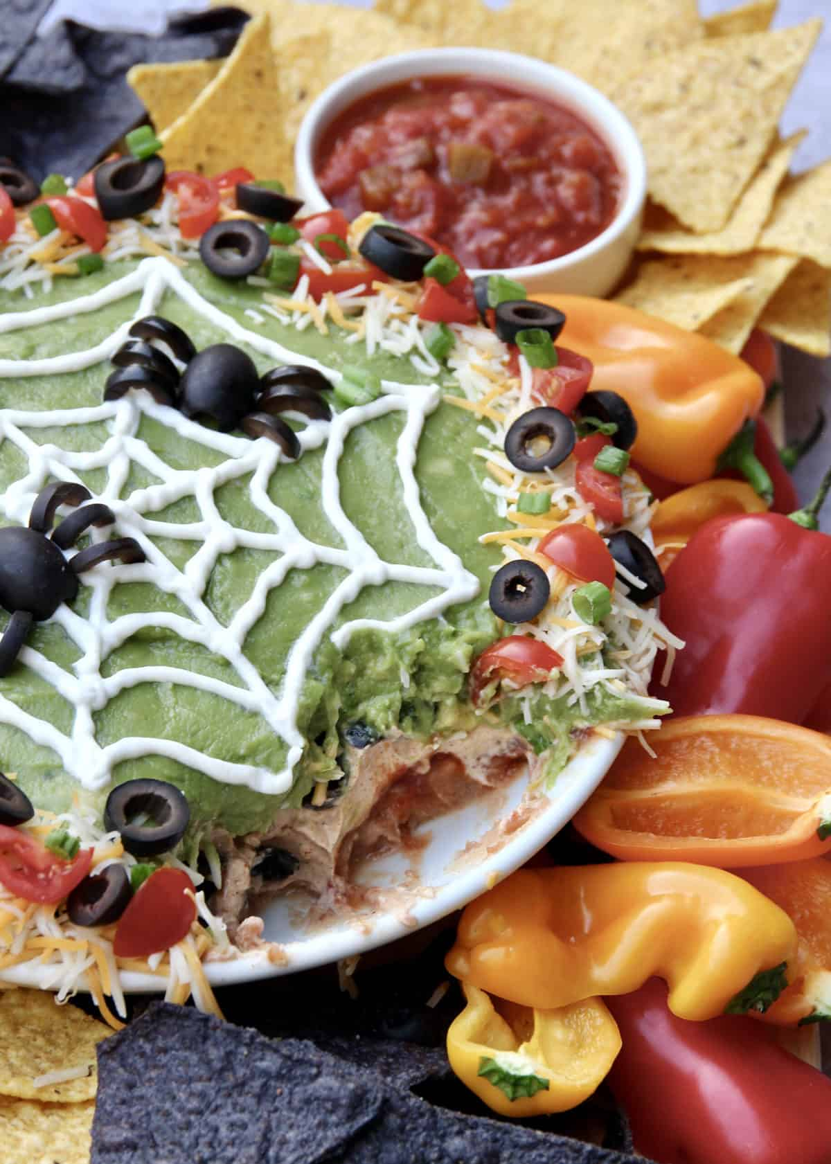 Spider Web Seven Layer Dip by The BakerMama